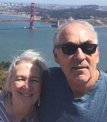 Matthew and Cornelia Barr with the Golden Gate Bridge in the back